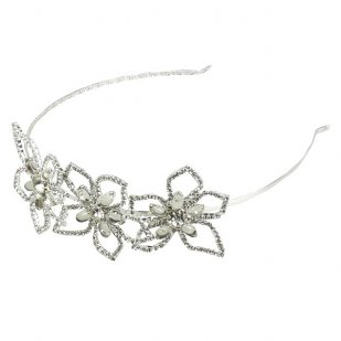 Lotus Flower Tiara ~ Clear Crystal ~ Silver Plated