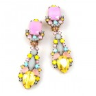 Miracle Clips-on Earrings ~ Pastel Opaque Yellow Pink