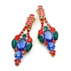 Roxanne Clips-on Earrings ~ Blue Red Emerald