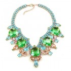 Taj Mahal Necklace ~ Green Aqua Pink