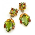 Floralie Earrings Pierced ~ Olive Green with Topaz