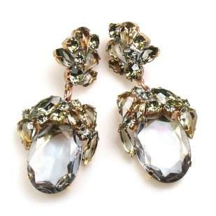 Fiore Pierced Earrings ~ Smoke Crystal Ovals