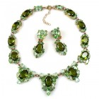 Mythique Set Lite ~ Necklace and Earrings ~ Green Olive