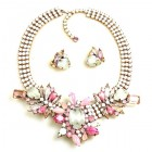 Nebthet Necklace Set with Earrings ~ Opaque White and Pink