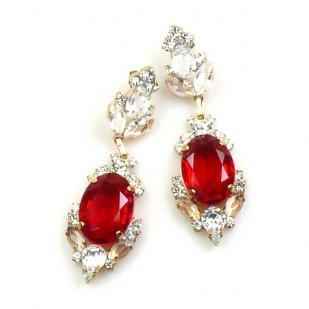Mythique Earrings for Pierced Ears ~ Crystal Red