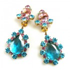 Heritage of History Earrings Clips ~ Aqua Pink