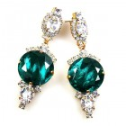 Taj Mahal Earrings Pierced ~ Clear with Silver Emerald
