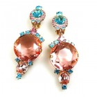 Taj Mahal Earrings Clips ~ Pink Aqua