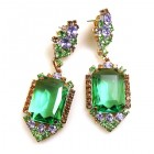 Candy Puffs Earrings Pierced ~ Green ~ Big Octagons