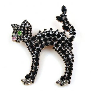 Bristled Cat Pin ~ Black
