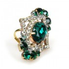 Pompe Ring ~ Crystal with Emerald Oval
