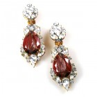 Grand Mythique Clips-on Earrings ~ Crystal Gold Maroon