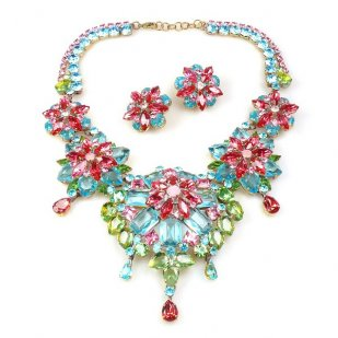 Crystal Blossom ~ Necklace Set ~ Multicolor