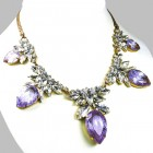 Camilla Necklace ~ Clear Crystal with Silver Violet