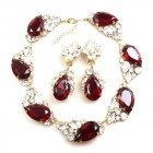Fountain Necklace Set ~ Clear Crystal with Silver Ruby Red