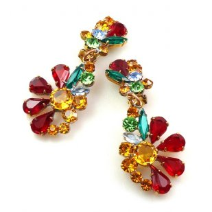 Power of Flowers ~ Earrings with Clips ~ Multicolor