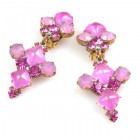 Bubbles Earrings with Clips ~ Neon Fuchsia