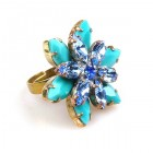 Sensual Desire Ring ~ Opaque Turquoise with Blue Sapphire
