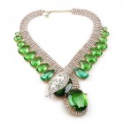 Extra Big Paradise Lost Necklace ~ Crystal with Green
