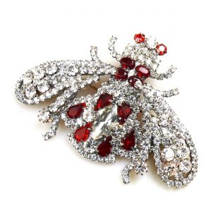 Bumblebee Brooch ~ Clear Crystal Red