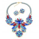 Bouquet Necklace Set ~ Blue with Fuchsia