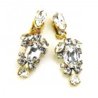 Raquel Earrings Clips ~ Clear Crystal