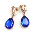 Raindrops Earrings Pierced ~ Blue Clear Crystal