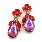 Fountain Multicolor Earrings Clips ~ Silver Red Fuchsia