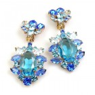 Sweet Temptation Earrings Clips ~ Aqua with Blue