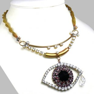 Purple Eye ~ Wonderful Rhinestone Necklace