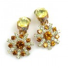 Zodiaque Earrings Clips ~ Yellow Topaz