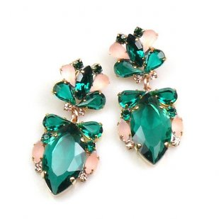 Floralie Earrings Pierced ~ Emerald with Old Rose