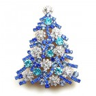 Xmas Tree Brooch #10 ~ Clear Blue Aqua