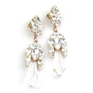 Theia Earrings Pierced ~ Clear Crystal