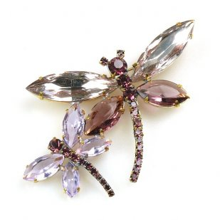 Two Dragonflies Pin ~ Amethyst