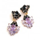Aztec Sun Earrings Clips ~ Violet Black