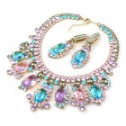 Absolue Necklace Set with Earrings ~ Aqua Pink Violet