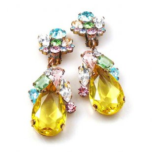 Fountain Clips-on Earrings ~ Pastel Tones with Yellow
