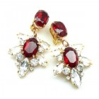 Xantypa Earrings Clips ~ Clear Crystal with Ruby Red