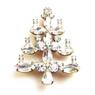 Xmas Tree Brooch #12 ~ Clear Crystal