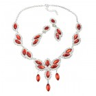 Princess Necklace Set ~ Red ~ Silver Plated