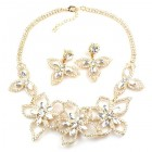 Lotus Flower Necklace Set ~ Clear Crystal ~ Gold Plated