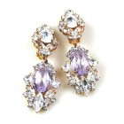 Crystal Gate Clips-on Earrings ~ Silver Violet