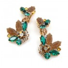 Florence Earrings with Clips ~ Dark Topaz Emerald