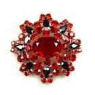 Aztec Sun Brooch ~ Red Ruby
