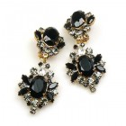 Aztec Sun Earrings Clips ~ Smoke Crystal Black Clear