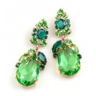 Fountain Earrings for Pierced Ears ~ Green Tones with Peridot