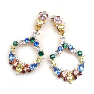 Paradise Valley Clips Earrings ~ Sapphire Yellow Pink