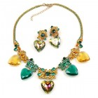 Seven Hearts Set with Earrings ~ Emerald Vitrail Topaz