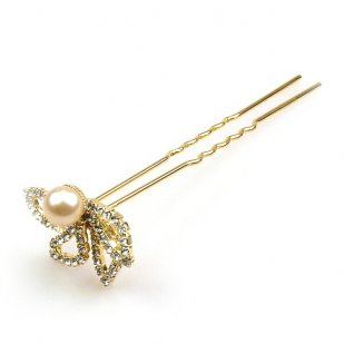 Zephyr Hair Pin with Bead ~ Gold Plated